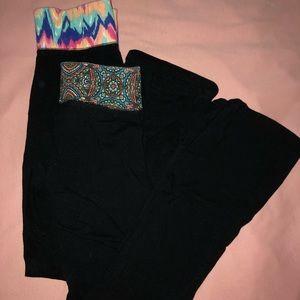 Pants - Patterned Fold-over Yoga Pants